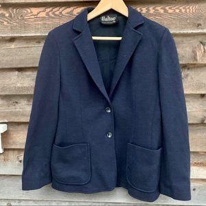 Vintage Dalton Navy Wool Blazwr